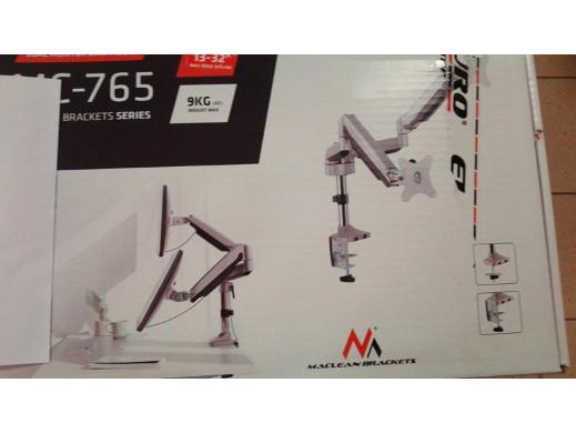 """Uchwyt biurkowy na dwa monitory Maclean ze sprężyną gazową 13""""-32"""" 9kg MC-765 - aluminium POSERWISOWY brak jednej blaszki mo"""