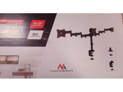 """Uchwyt biurkowy na 3 monitory LCD podwójne ramiona Maclean MC-691 13""""-27"""" 8kg,  vesa 75x75 oraz 100x100 POSERWISOWY jedno ramie"""