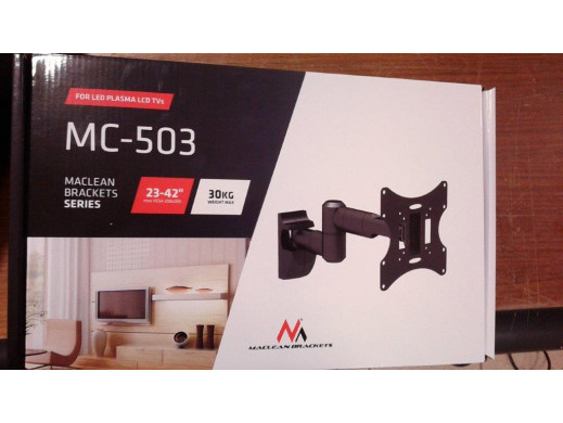 """Uchwyt do telewizora  lub  monitora 13-42"""" 30 kg uniwersalny Maclean MC-503A B czarny max vesa 200x200 POSERWISOWY brak plastiko"""