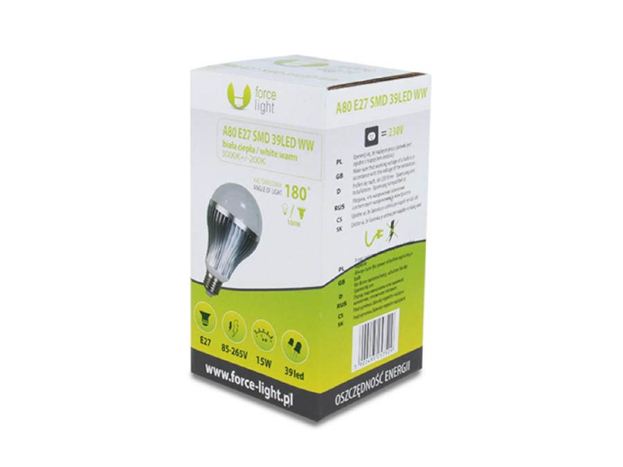 Żarówka LED E27 A80 15W 230V 3000K ciepły biały 1200lm Forever light