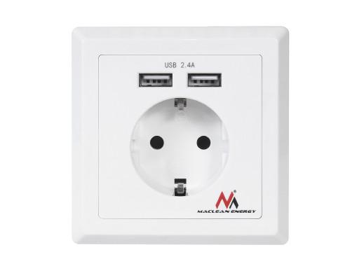 Gniazdko prądowe Maclean  do zabudowy z 2xUSB USB 5V, 2.4A 86x86mm niemieckie MCE237