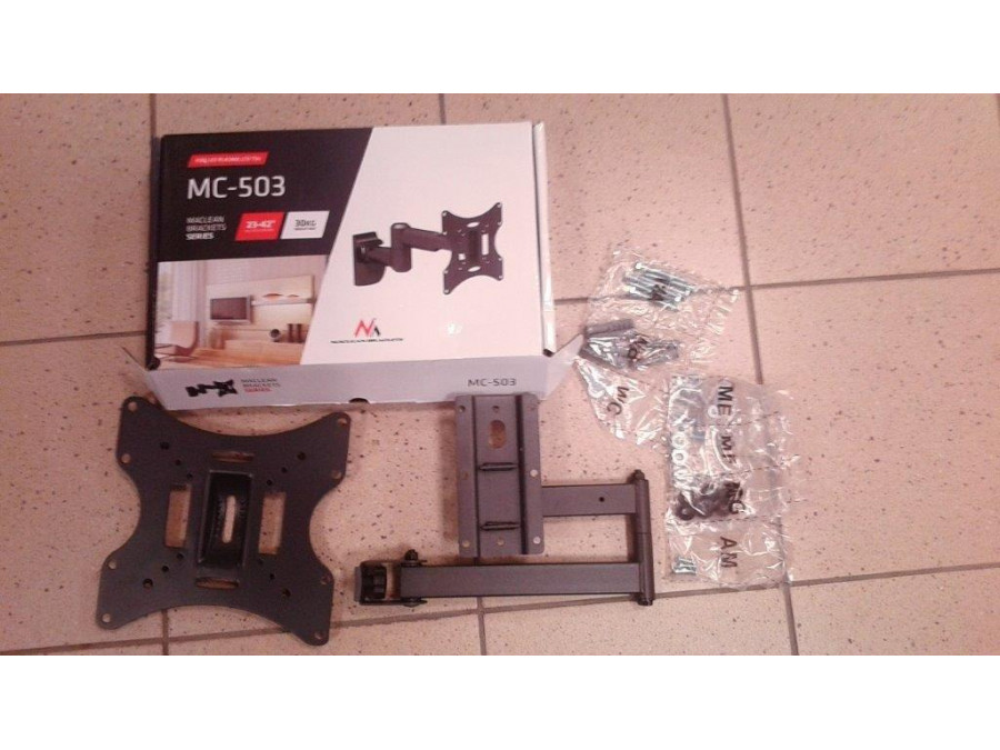 "Uchwyt do telewizora  lub  monitora 13-42"" 30 kg uniwersalny Maclean MC-503A B czarny max vesa 200x200 - Brak maskownic."