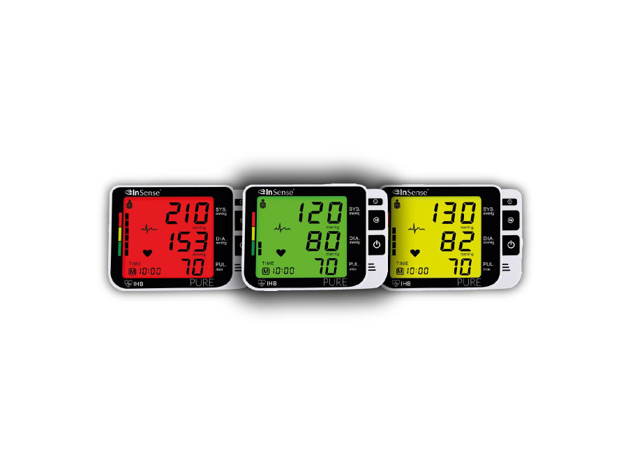Ciśnieniomierz 3 kolory LCD InSense Pure