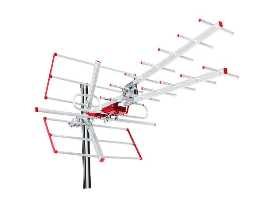 Antena zewnętrzna TV DVB-T Combo UHF VHF aktywna max 100dBµV Maclean MCTV-855A filtr Lte