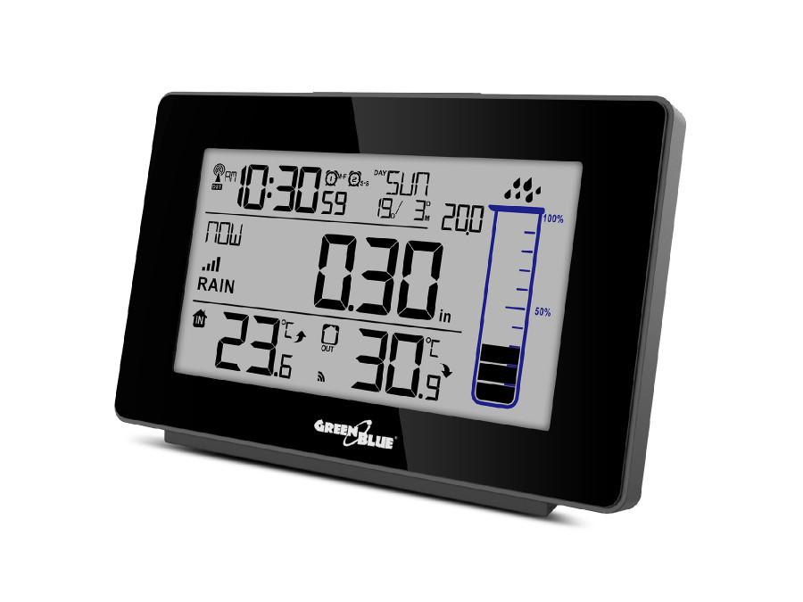 Stacja pogody bezprzewodowa z systemem DCF GreenBlue GB541, ilość opadów deszczu, kalendarz, termometr