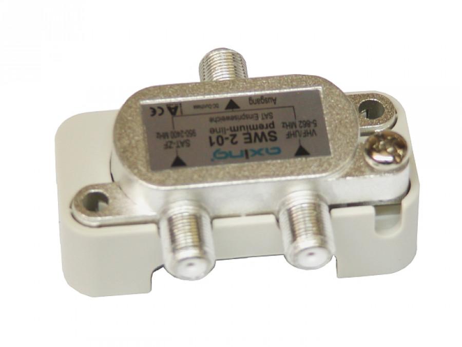 Zwrotnica sumator TV-SAT SWE 2-02 950-2400MHz AXING  przepuszcza zasilania DC pass