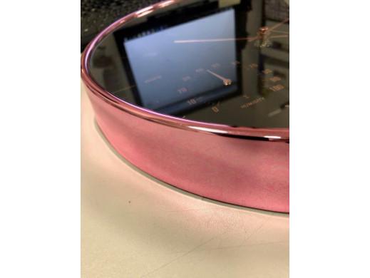 Zegar ścienny złoty 12'' 30cm z termometrem i higrometrem  CE70 G POSERWISOWY Produkt sprawny, niezgodny kolor - różowa barwa ob