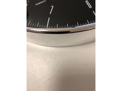 Zegar ścienny srebrny 12'' 30cm z termometrem i higrometrem  CE60 S POSERWISOWY Delikatne ślady użytkowania