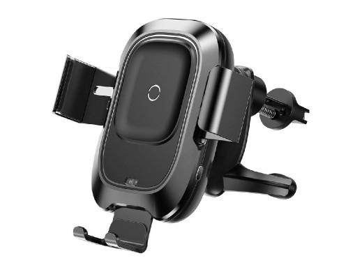 Uchwyt grawitacyjny na telefon do kratki samochodowej z wbudowaną bezprzewodową ładowarką Qi BASEUS Smart Vehicle Bracket