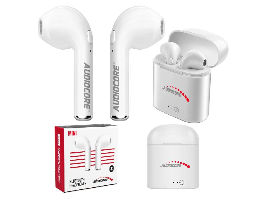 Słuchawki bluetooth bezprzewodowe bliźniacze douszne + stacja Audiocore AC515 mini białe TWS 5.0