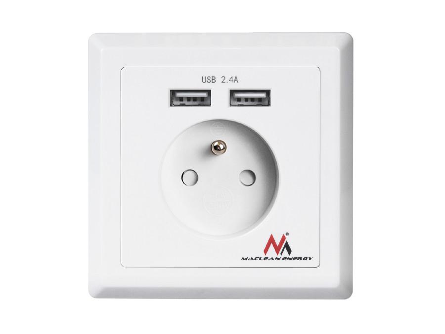 Gniazdko prądowe do zabudowy z 2xUSB Maclean Energy MCE251 USB 5V, 2.4A 86x86mm