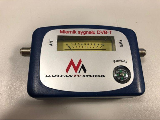 Miernik telewizyjny DVB-T Maclean  MCTV-627 kabel 25cm F-F, etui, zestaw zasilający POSERWISOWY Produkt sprawny, kompletny, zar