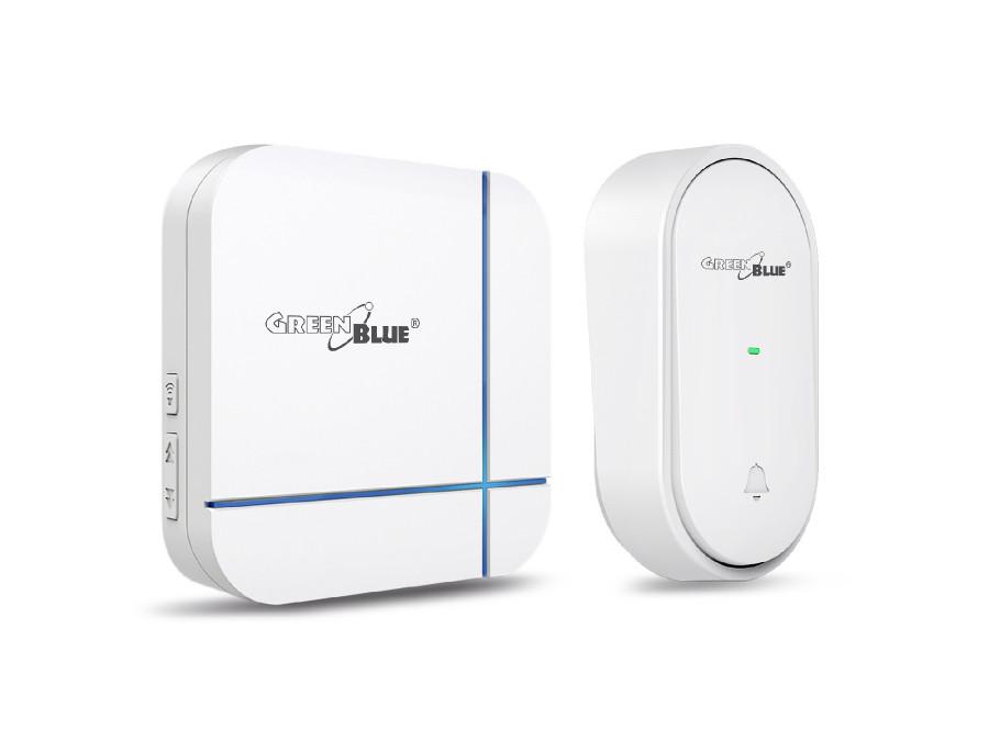 Dzwonek bezprzewodowy kinetyczny bezbateryjny ECO 52 melodie biały GreenBlue GB210 zasięg 150m, 230V IP44
