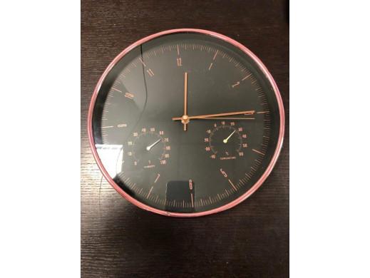 Zegar ścienny złoty 12'' 30cm z termometrem i higrometrem  CE70 G POSERWISOWY Produkt sprawny, błędny kolor - miedziany