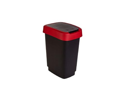 Kosz na śmieci swing Rotho Twist 10L czarno-czerwony