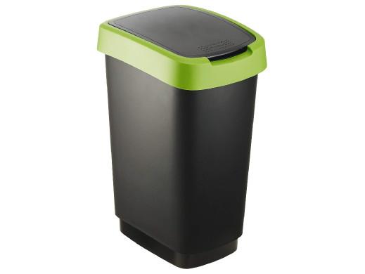 Kosz na śmieci swing Rotho Twist 10L czarno-zielony