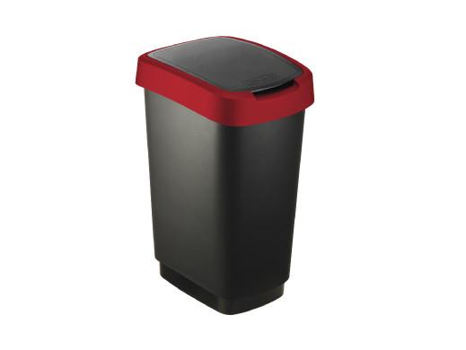 Kosz na śmieci swing Rotho Twist 25L czarno-czerwony