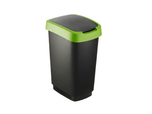 Kosz na śmieci swing Rotho Twist 25L czarno-zielony