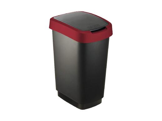 Kosz na śmieci swing Rotho Twist 50L czarno-czerwony