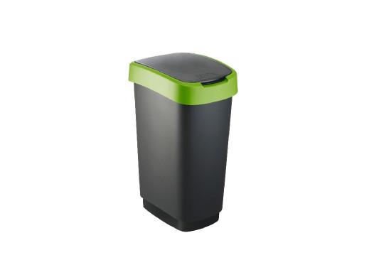 Kosz na śmieci swing Rotho Twist 50L czarno-zielony