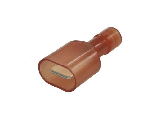 Konektor 6,3mm męski izolowany czerwony na kabel 0,5-1,5mm