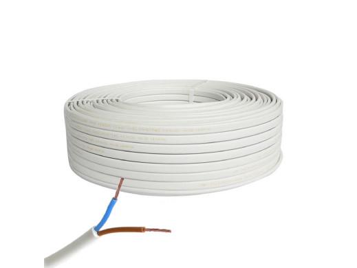 Kabel prądowy 2*1mm Omyp płaski linka biały