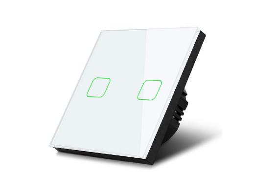 Dotykowy włącznik światła Maclean, Podwójny, Szklany, Biały z kwadratowym podświetleniem przycisku, MCE703W