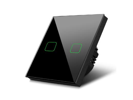 Dotykowy włącznik światła Maclean, Podwójny, Szklany, Czarny z kwadratowym podświetleniem przycisku, MCE703B