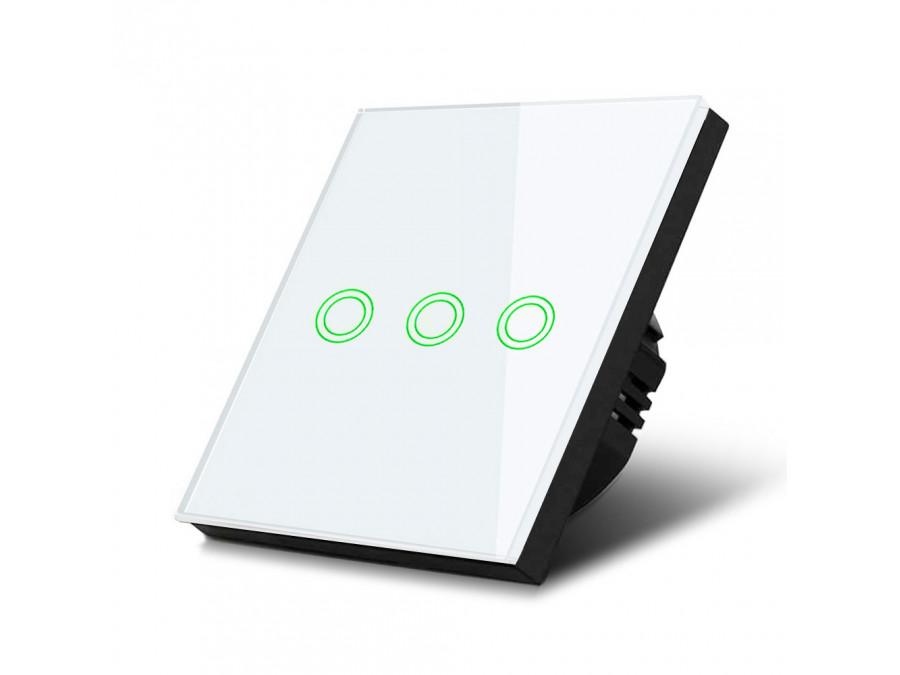 Dotykowy włącznik światła, potrójny, szklany, biały z okrągłym przyciskiem Maclean Energy MCE705W, wymiary 86x86mm, z podświetle