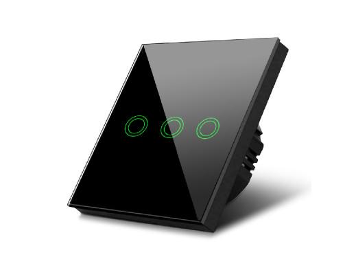 Dotykowy włącznik światła Maclean, Potrójny, Szklany, Czarny z okrągłym podświetleniem przycisku, 86x86mm, MCE705B