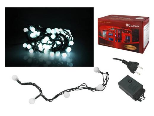 Lampki choinkowe 100 LED zimny biały kulki 10m IP44 zewnetrzne ze sterownikiem