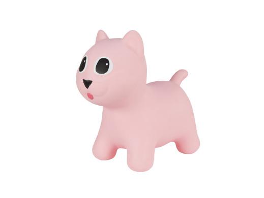 Gumowy skoczek Hoppimals kotek różowy + pompka