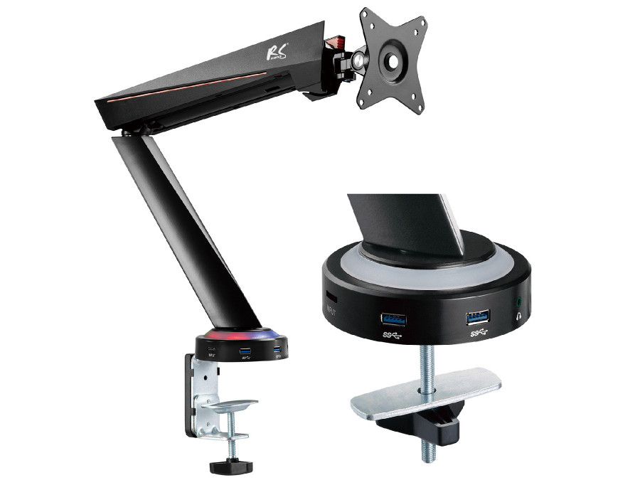 """Uchwyt gamingowy do monitora LCD NanoRS RS886 17-32"""" 8kg vesa 75x75 oraz 100x100 podwójne ramię"""