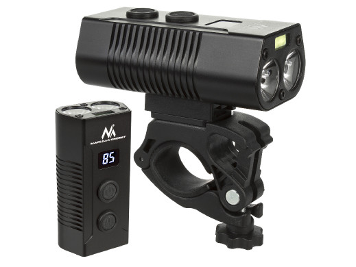Latarka rowerowa XML+COB  LED 750 lumen LED Maclean Energy + powerbank zestaw MCE308 mocna