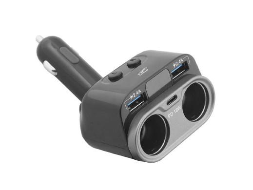 Adapter samochodowy 2gn.2USB 2,4A LTC Car Fire