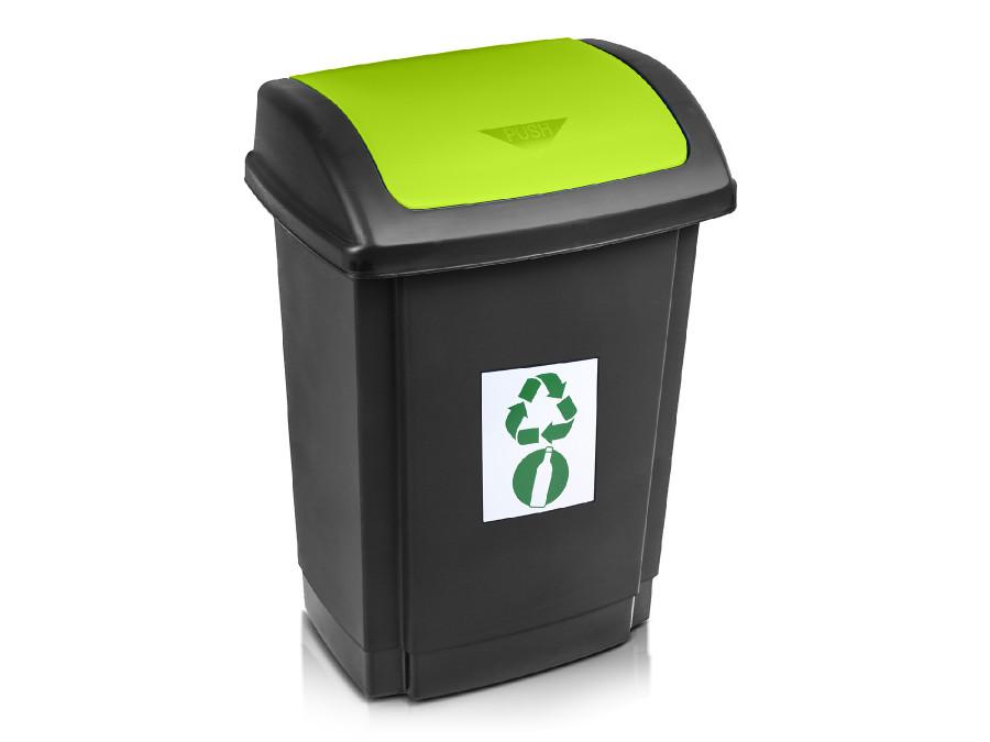 Kosz na śmieci Plast Team Swing 25L czarny z zieloną pokrywą