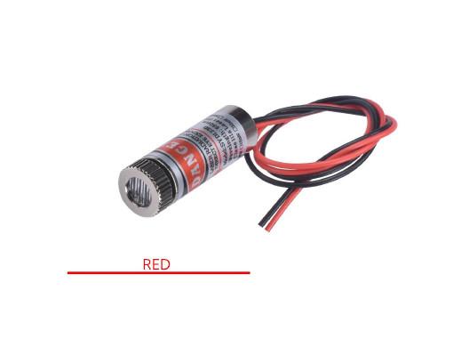 Laser 3-5V liniowy moc: 5mW 650nm czerwony Wymiary: Długość: 35mm Średnica: 12mm Długość przewodów: 12cm