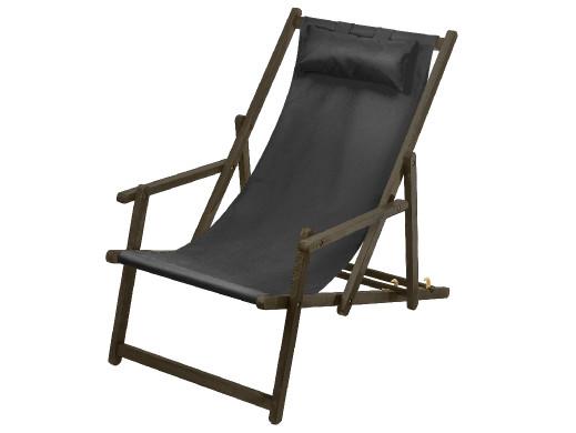 Leżak z podłokietnikiem i poduszką GreenBlue Premium GB283 czarny