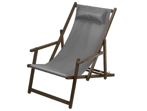 Leżak z podłokietnikiem i poduszką GreenBlue Premium GB283 szary