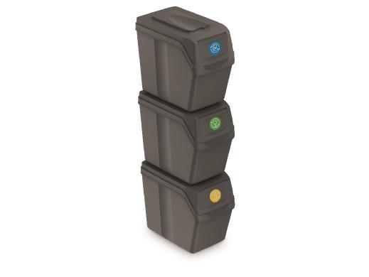 Zestaw koszy do segregacji Sortibox 3x20L szare ISWB20S3