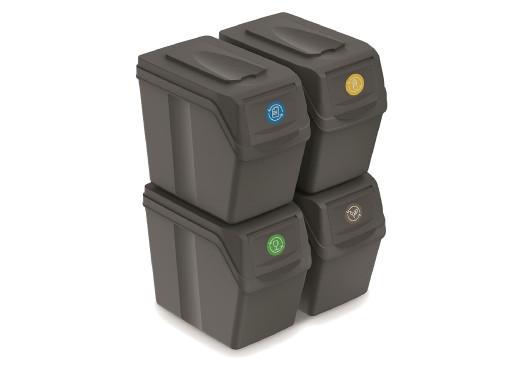 Zestaw koszy do segregacji Sortibox 4x20L szare ISWB20S4
