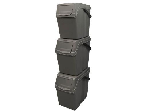 Zestaw koszy do segregacji Sortibox 3x25L szare ISWB25S3