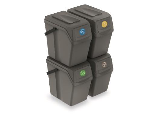 Zestaw koszy do segregacji Sortibox 4x25L szare ISWB25S4