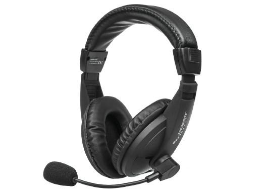 Nauszne słuchawki USB plug&play z mikrofonem Audiocore AC862, dł. kabla 1,5m do pracy zdalnej