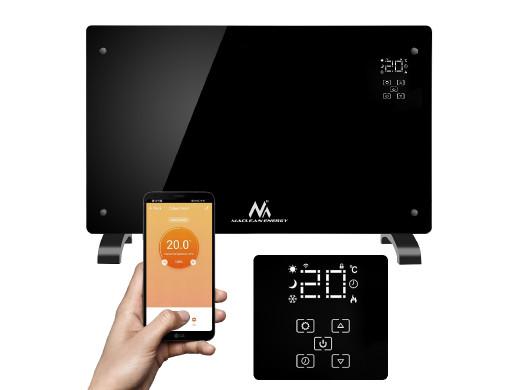 Grzejnik elektryczny Maclean, Konwekcyjny, Szklany panel, Timer, Dotykowy wyświetlacz, Sterowanie WiFi, Kolor czarny, MCE502