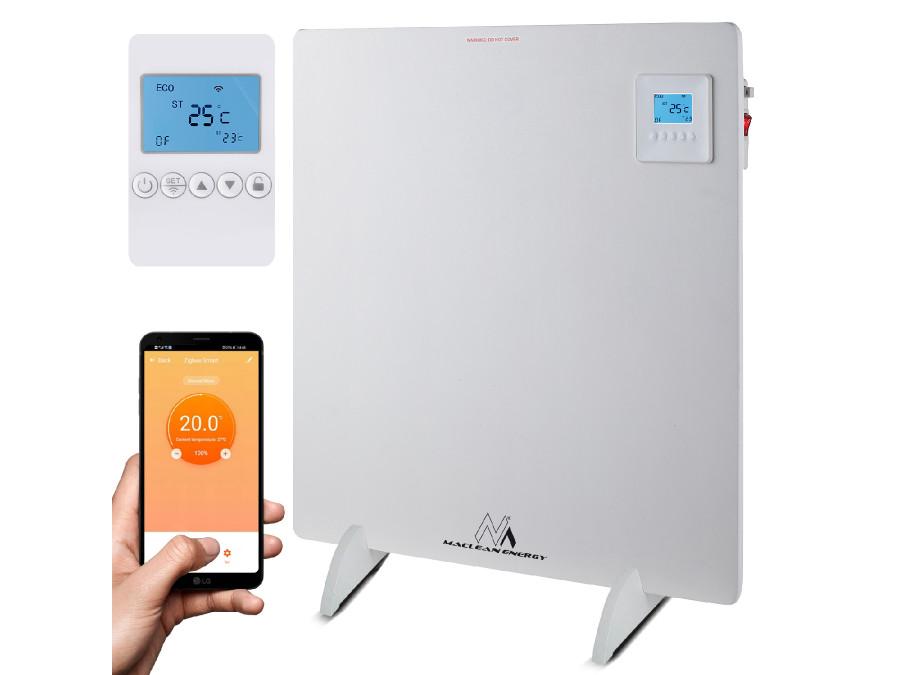 Grzejnik elektryczny Maclean na podczerwień 425W krzemianowo-wapniowy panel, timer, termostat, sterowanie WiFi Tuya, kolor biały