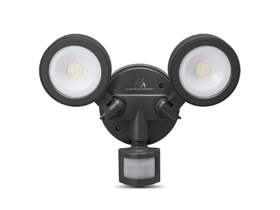 Lampa LED Maclean, Ścienna, Z czujnikiem PIR, PC+ALU, 20W, 1900lm, IP65, Neutral White 4000K, Szara, MCE368