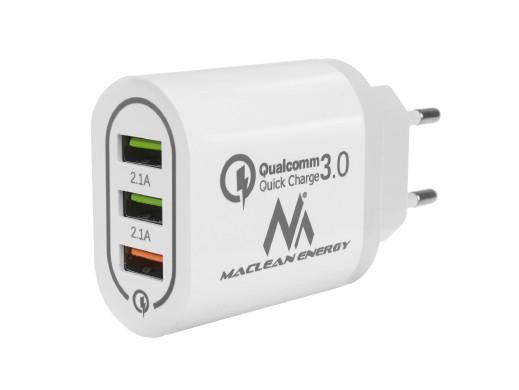 Ładowarka sieciowa Maclean, Qualcomm Quick Charge, QC 3.0 - 3.6-6VV/3A, 6-9V/2A, 9-12V/1.5A, 2 gniazda 5V/2.1A, Biała, MCE479 W