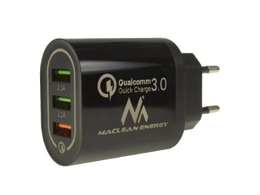 Ładowarka sieciowa Maclean, Qualcomm Quick Charge, QC 3.0 - 3.6-6VV/3A, 6-9V/2A, 9-12V/1.5A, 2 gniazda 5V/2.1A, Czarna, MCE479 B