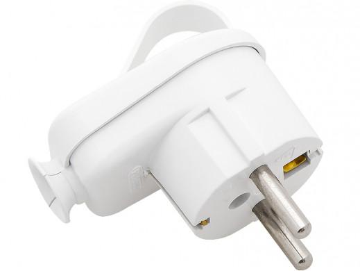 Wtyczka prądowa WT-16U/Z kątowa biała z uziemieniem z uchem